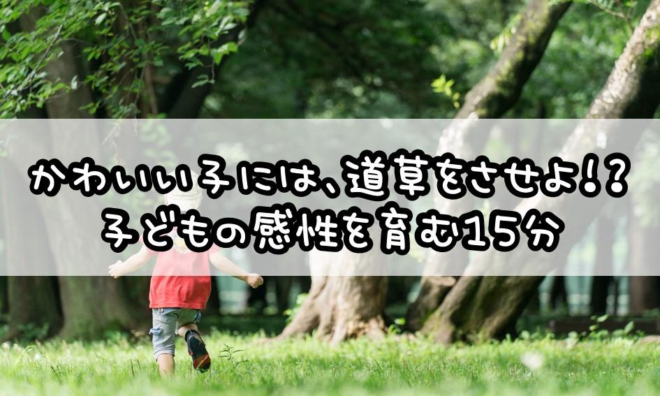 かわいい子には、道草をさせよ!? 子どもの感性を育む15分